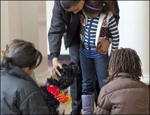 FIRST DOG BO received by OBAMA family