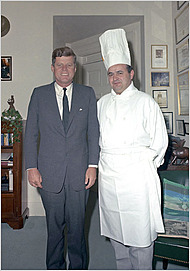 Chief John F. Kennedy with Chef Rene Verden - Kennedy Presidential Library
