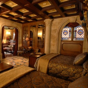 Cinderella Bedroom Suite with fireplace. Photo copyright: Disney
