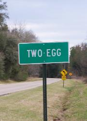Two Egg road sign